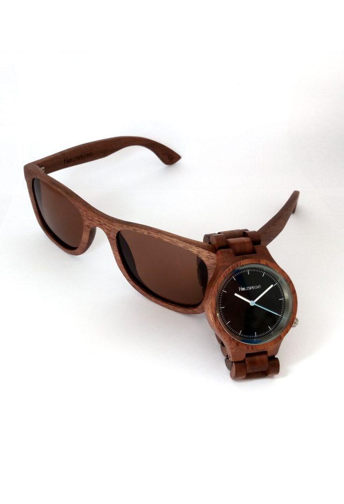 Holzuhr Holzsonnenbrille Kombi