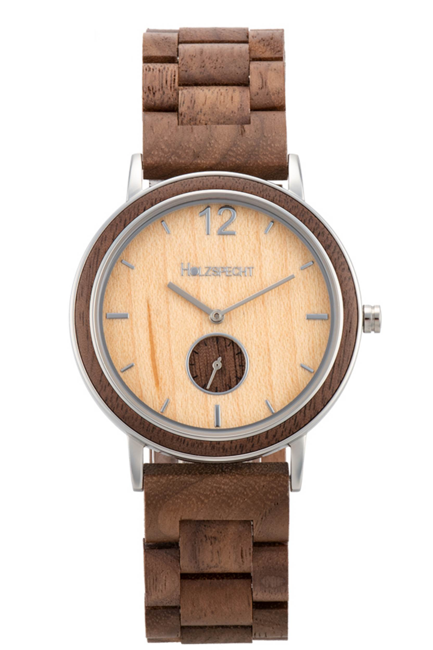 Holzspecht Armbanduhr aus Holz Karwendel Walnuss Ahorn