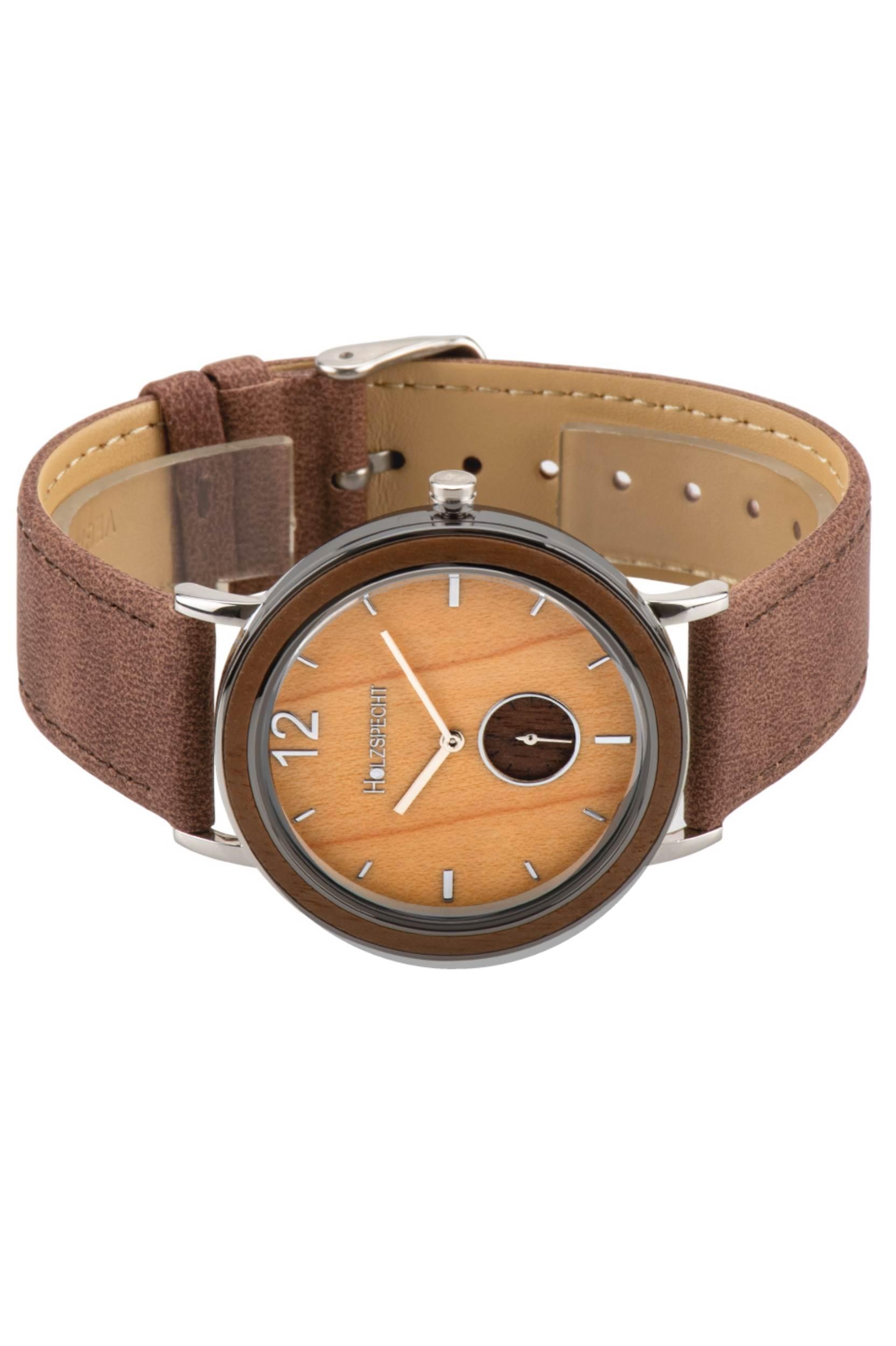 Armbanduhr Karwendel - Holz und veganes Leder
